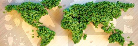 Weltkarte wobei die einzelnen Kontinente alle grün bepflant sind um auf das Thema Nachhaltigkeit hinzuweisen