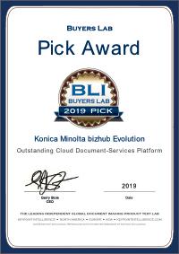 Buyers Lab Pick Award 2019 for bizhub evolution