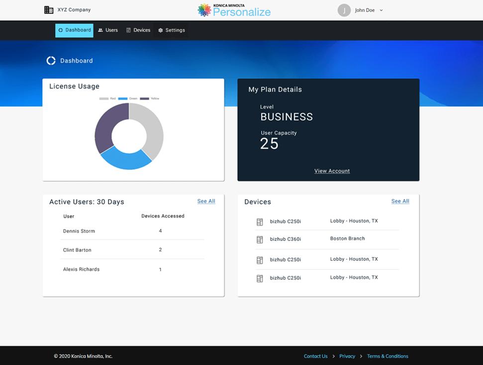 Konica Minolta Personalize dashboard