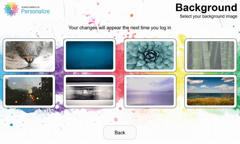 Konica Minolta personalize screenshot background